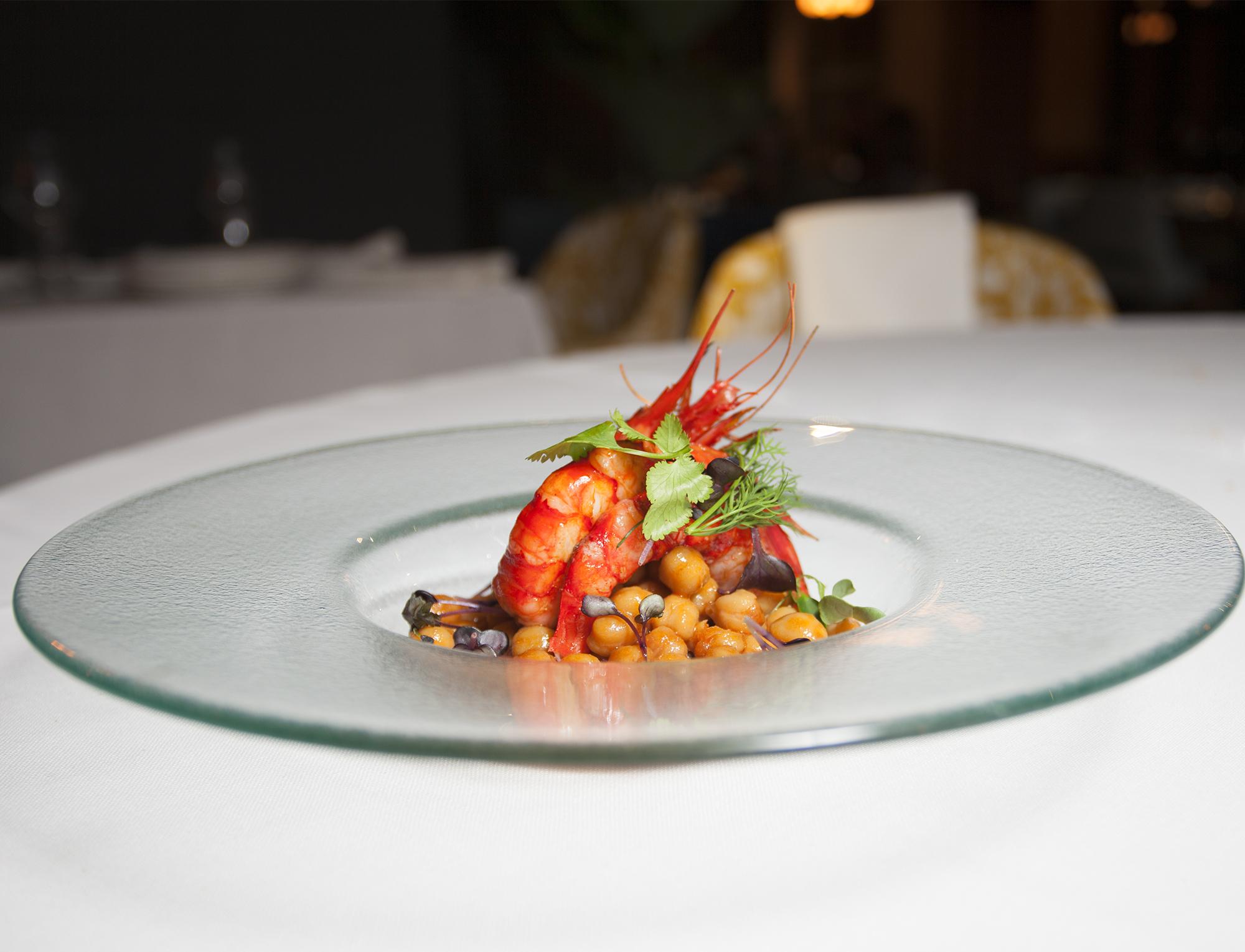 Receta garbanzos con carabineros restaurante Casino Alcalá